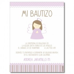 b0057 violeta - Invitaciones - Bautizo