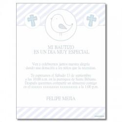 b0080 B azul - Invitaciones - Bautizo