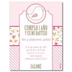 b0047 B Rosado - Invitaciones - Bautizo