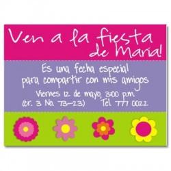 c0016 - Invitaciones de cumpleaños - Flores.