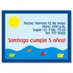 c0022 - Invitaciones de cumpleaños - Peces