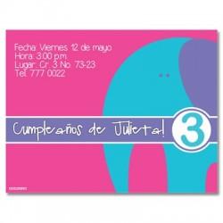c0029 - Invitaciones de cumpleaños - Elefante.