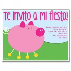 c0073 - Invitaciones de cumpleaños - Marrano.