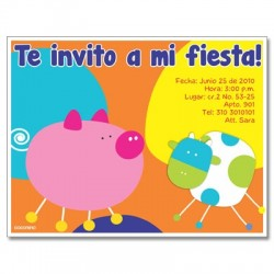 c0074 - Birthday invitations - Farm