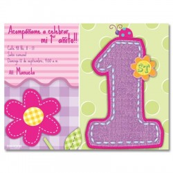 c0080 - Invitaciones de cumpleaños - Flores.