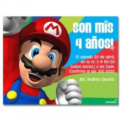 c0082 - Invitaciones de cumpleaños - Mario bros.