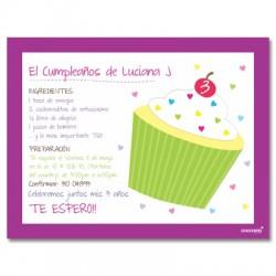 c0145 - Invitaciones de cumpleaños - Cup cake