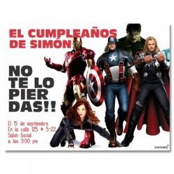 c0159 - Invitaciones de cumpleaños - Super heroes