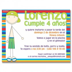 c0172 - Invitaciones de cumpleaños - Piscina