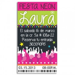 c0174 - Birthday invitations - Neon Party