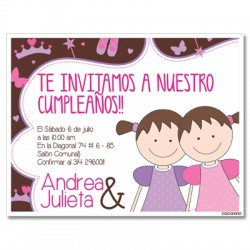 c0189 - Birthday invitations - twins