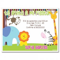 c0199 - Birthday invitations - animals