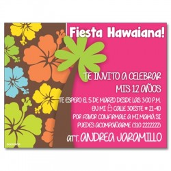 c0215 - Birthday invitations - hawaiian party