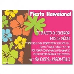 c0215 - Invitaciones de cumpleaños - fiesta hawaiana