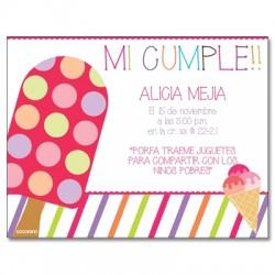 c0228 - Invitaciones de cumpleaños - helado