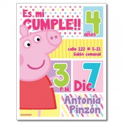 c0232 - Birthday invitations - peppa pig