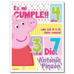 c0232 - Invitaciones de cumpleaños - peppa pig