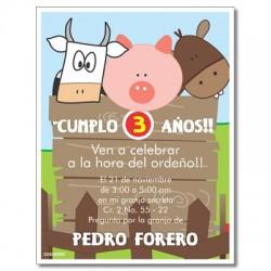 c0236 - Invitaciones de cumpleaños - granja