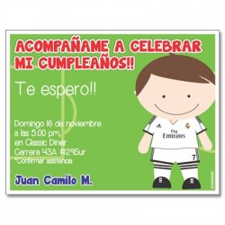 c0238 - Invitaciones de cumpleaños - fútbol
