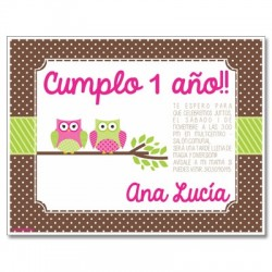 c0247 - Birthday invitations - Owls