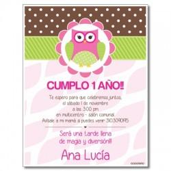 c0248 - Invitaciones de cumpleaños - Búhos