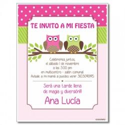 c0249 - Invitaciones de cumpleaños - Búhos