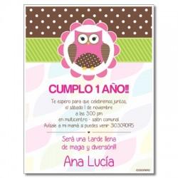 c0250 - Invitaciones de cumpleaños - Búho
