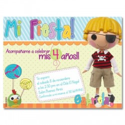 c0274 - Birthday invitations - Pirate doll
