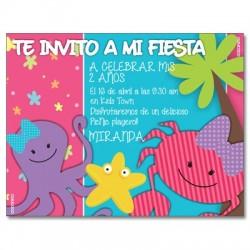 c0276 - Invitaciones de cumpleaños - Playa