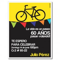 c0285 - Birthday invitations - Bicycle