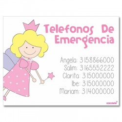Iman con telefonos de emergencia