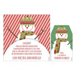 Bolsa, etiqueta y tarjeta para vino - hombre de nieve