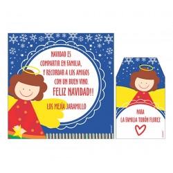 Bolsa, etiqueta y tarjeta para vino - ángel