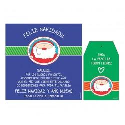 Bolsa, etiqueta y tarjeta para vino - Papá noel