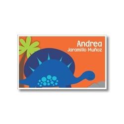 p9409 naranja - Tarjetas de presentación - Dinosaurio