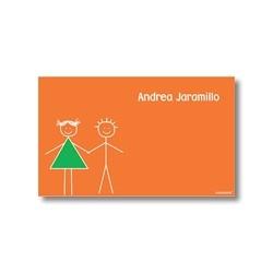 p0103 naranja - Tarjetas de presentación - Hermanitos