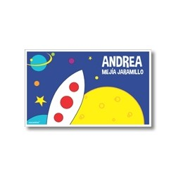 p9202 Label cards - Space rocket