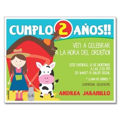 c0299 - Invitaciones de cumpleaños - Granja