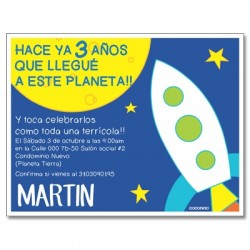 Invitaciones de cumpleaños - Espacio - cohete