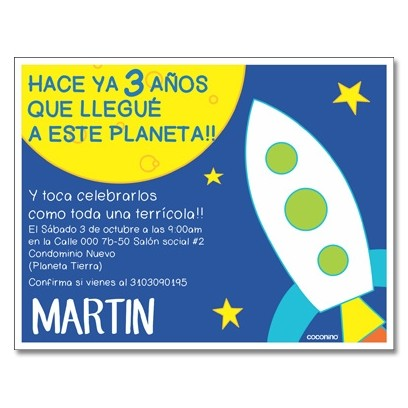 c0323 - Birthday invitations - Space Rocket