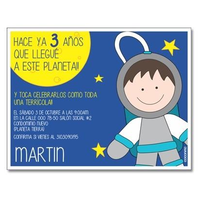 c0324 - Birthday invitations - Space Rocket