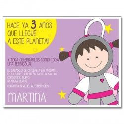 c0325 - Birthday invitations - Space - Astronaut