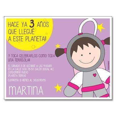 c0325 - Birthday invitations - Space - Astronaut
