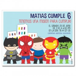 c0349 - Birthday invitations - Superheros