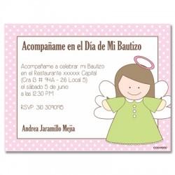 b0030 Rosado - Invitaciones - Bautizo