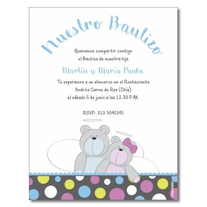 Invitations Baptism - Bear