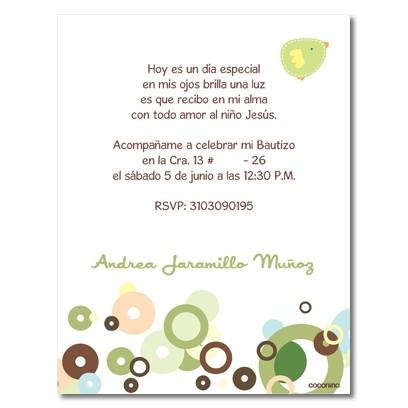 b0018 B Verde - Invitaciones  Bautizo - Pajaro