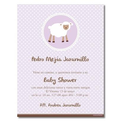 b0010 S Violeta - Invitaciones - Baby Shower Oveja