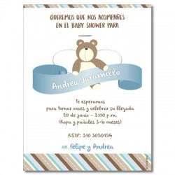 b0012 S Azul - Invitaciones - Baby Shower Oso