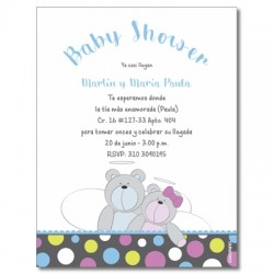b0014 S - Invitaciones - Baby Shower Oso
